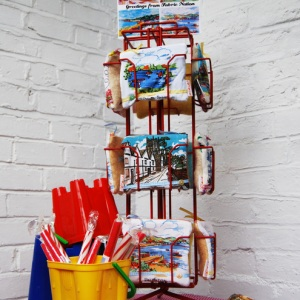 Fabric Nation postcard purses in display stand