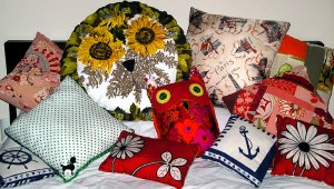 cushions made from vintage fabrics