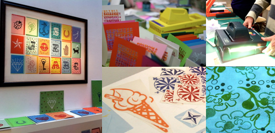 Printed Wonders exhibition, print gocco and rubber stamping workshops