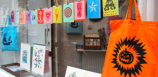 Printed Wonders pop-up shop, window with cards and Halloween bag