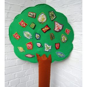 tree display with leaf brooches