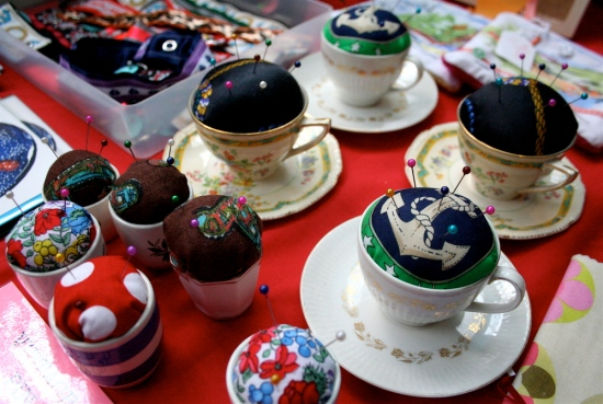 Tea cup pin cushions
