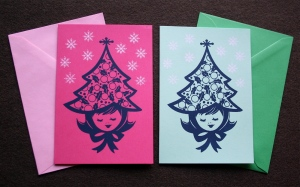 xmas tree hat cards