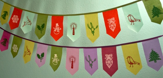 Christmas bunting in two colour ways