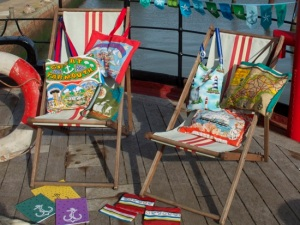 Deck chairs with Seaside Sisters bags