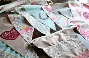 wedding bunting in pink, blue & brown