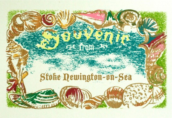 Stoke Newington-on-Sea souvenir postcard with seashells