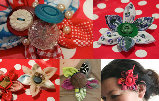 Fabric brooches made at Vintage at Southbank
