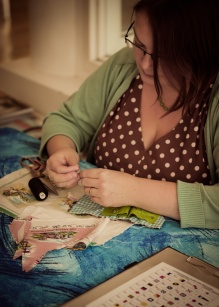 Gillian (Seaside Sisters) sewing at Craft Central