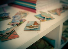 Map brooches by Fabric Nation